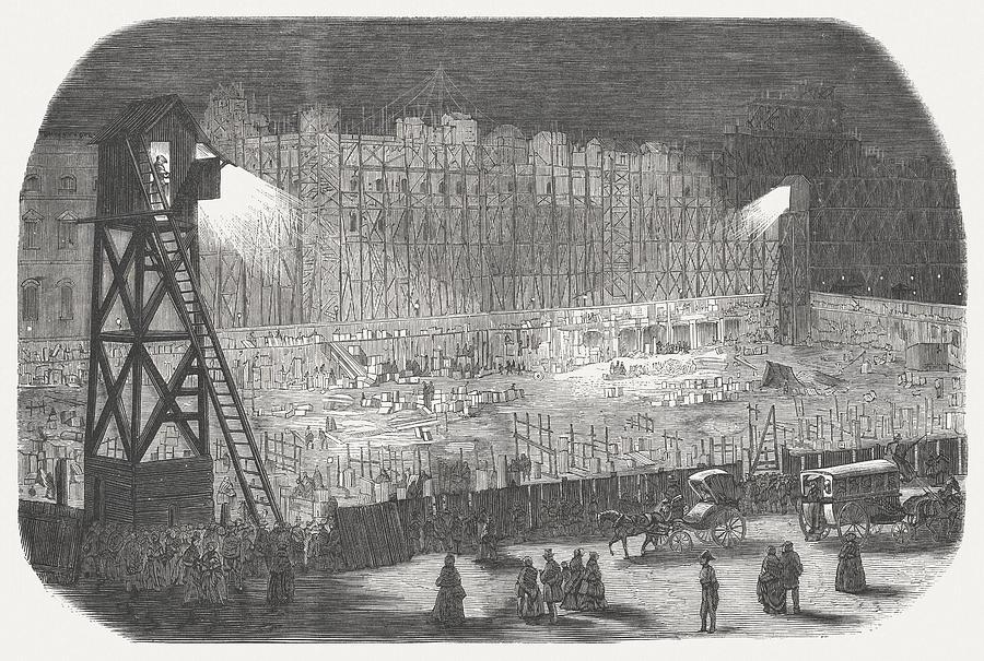 Construction of the Rivoli street (Paris), electric lighting, 19th century Drawing by Zu_09
