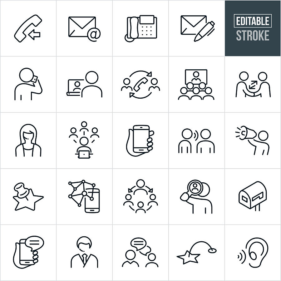 Contact Methods Thin Line Icons - Editable Stroke Drawing by Appleuzr