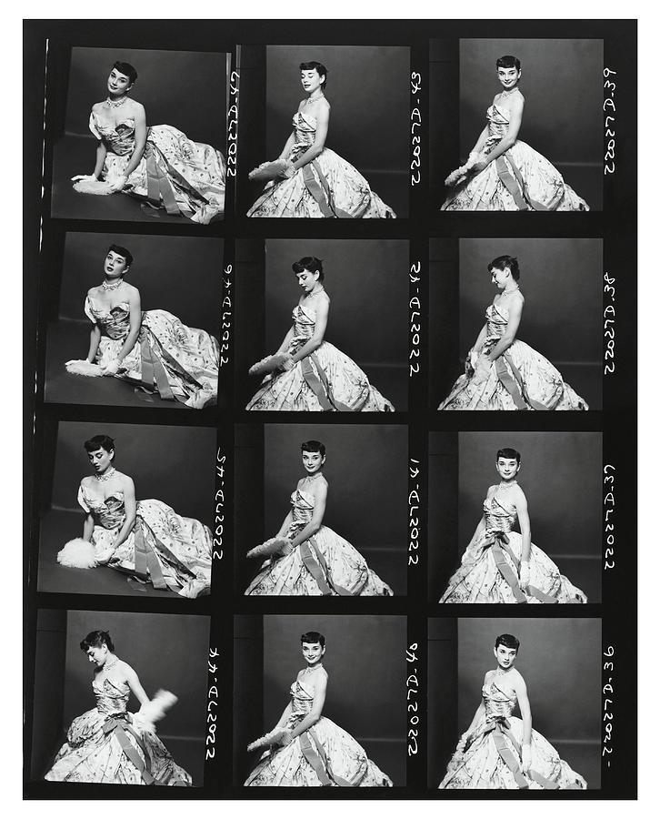Contact Print of Audrey Hepburn Wearing An Adrian Dress Photograph by Richard Rutledge