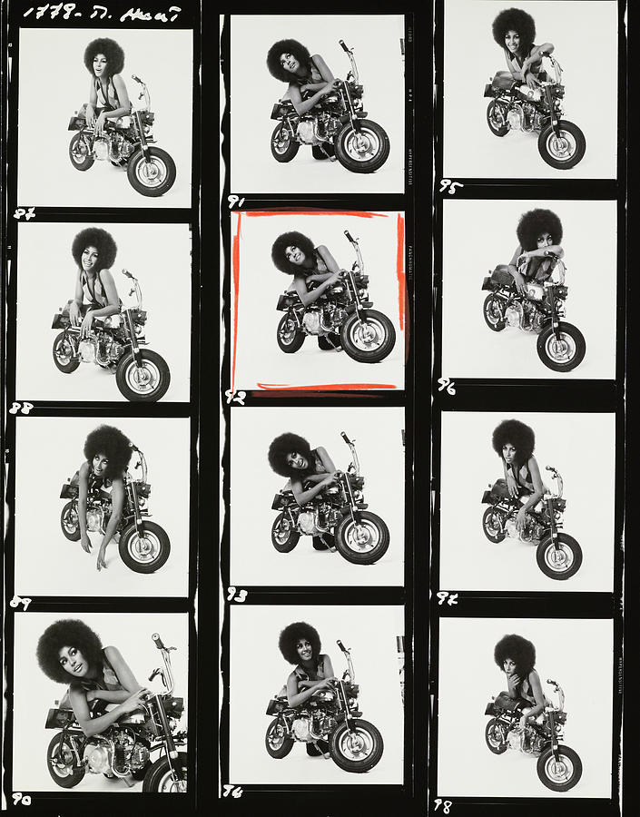 Contact Sheet of Marsha Hunt with a Motorbike Photograph by Patrick Lichfield