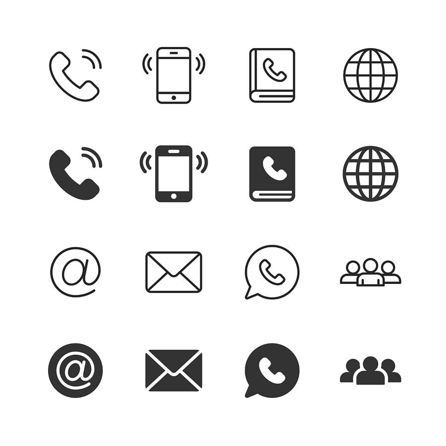 Contact Us Glyph and Line Icons. Editable Stroke. Pixel Perfect. For Mobile and Web. Contains such icons as Phone, Smartphone, Globe, E-mail, Support. Drawing by Rambo182