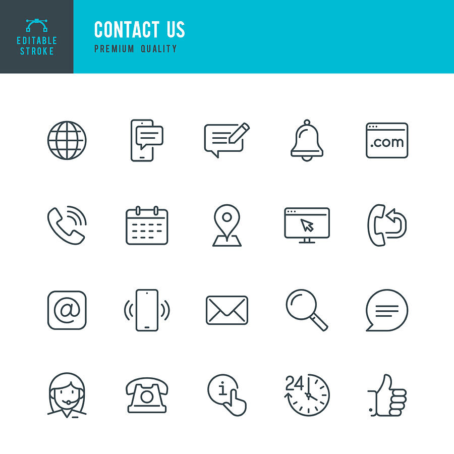 Contact Us - thin line vector icon set. Editable stroke. Pixel Perfect. Set contains such icons as Globe, Location, Feedback, Message, Support, Telephone, Mail. Drawing by Fonikum