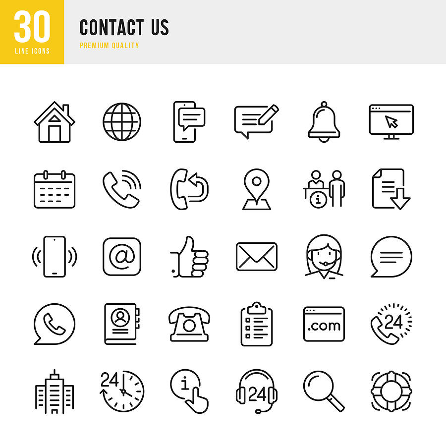 Contact Us - thin line vector icon set. Pixel Perfect. Set contains such icons as Home, Location, Feedback, Message, Support, Office, Mail. Drawing by Fonikum