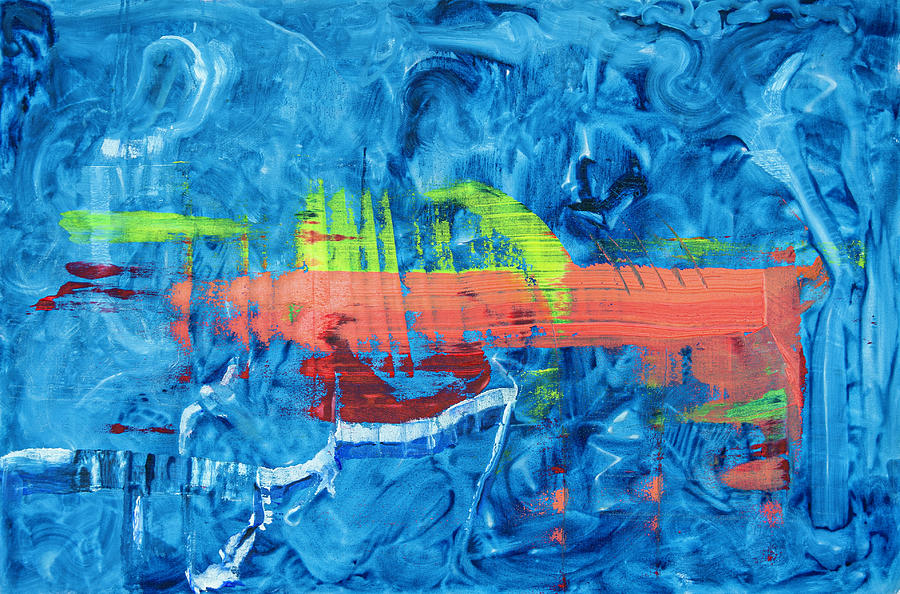 Contemplation In Orange And Blue Painting