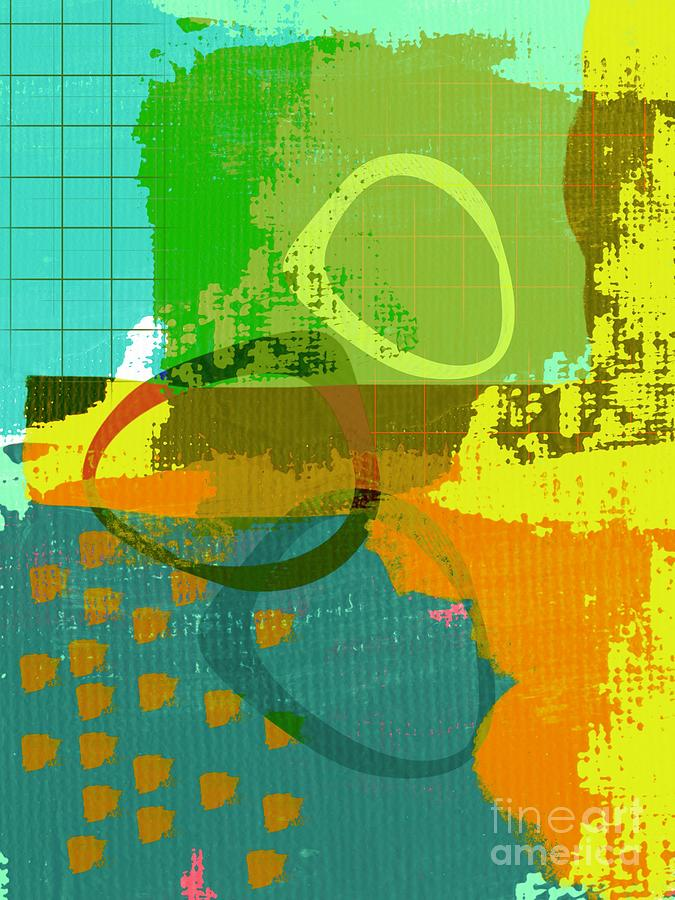 Contemporary Abstract Teal Orange Yellow 355 Painting