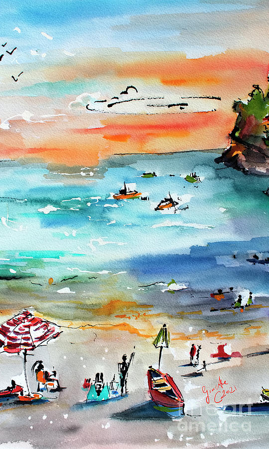 Contemporary Amalfi Amalfi Coast Watercolor Impression Painting by Ginette Callaway