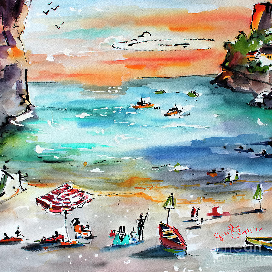 Contemporary Amalfi Coast Whimsical Beach Scene Watercolors Painting by Ginette Callaway