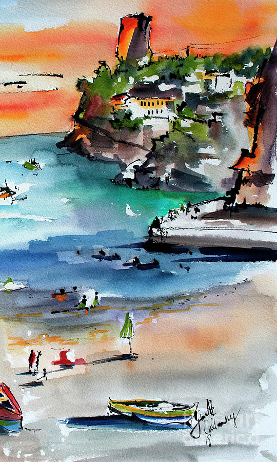 Contemporary Italy Amalfi Coast Watercolor and Ink Art  Painting by Ginette Callaway