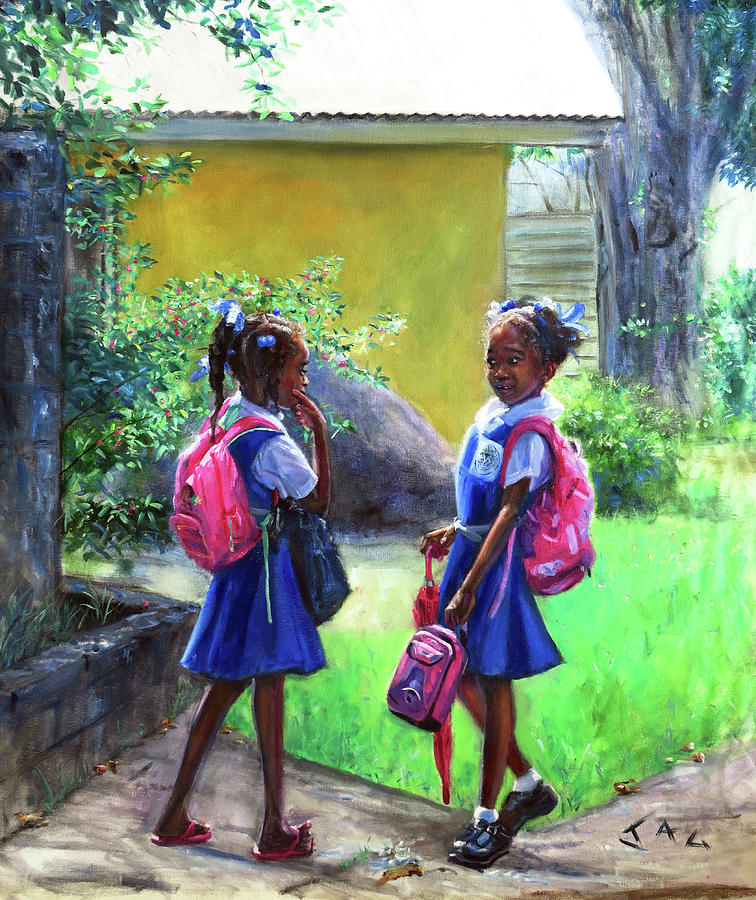 Caribbean Painting - Conversation #4 by Jonathan Guy-Gladding JAG