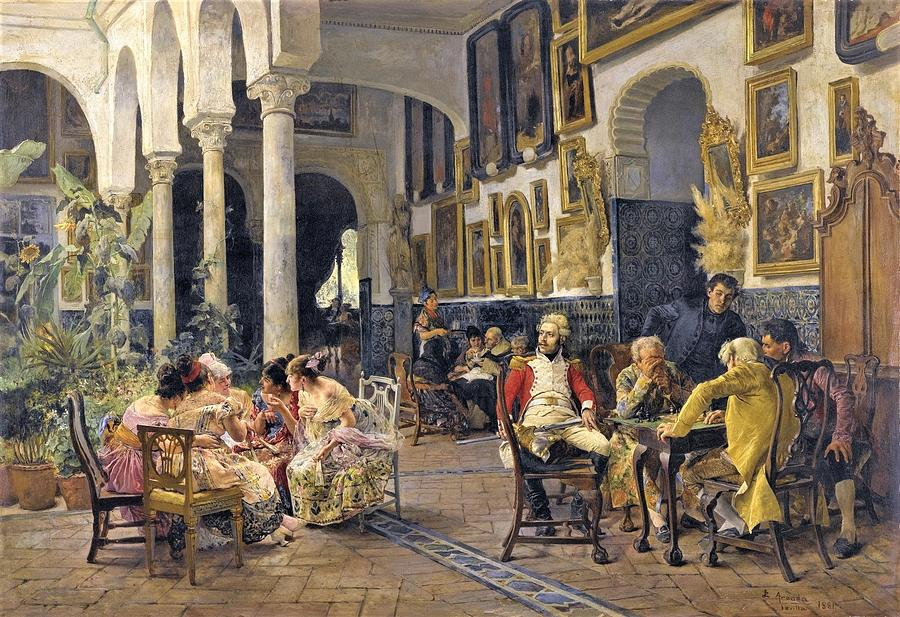 Conversation In Sevilla Painting