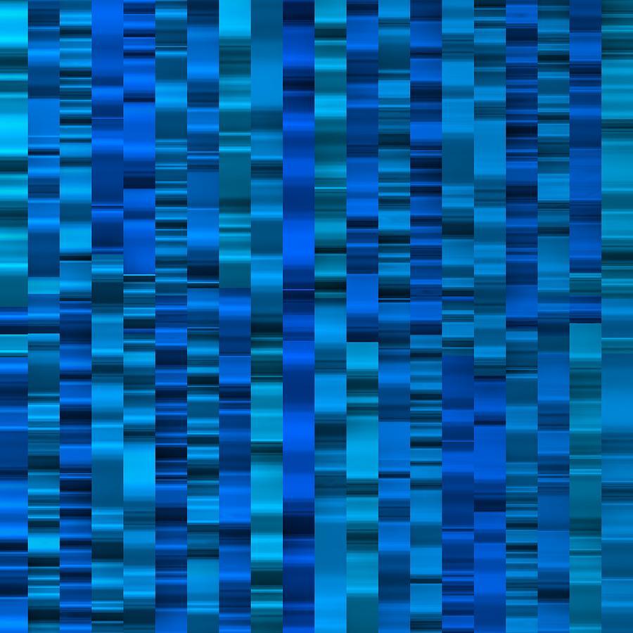 Cool Blue Striped Digital Art