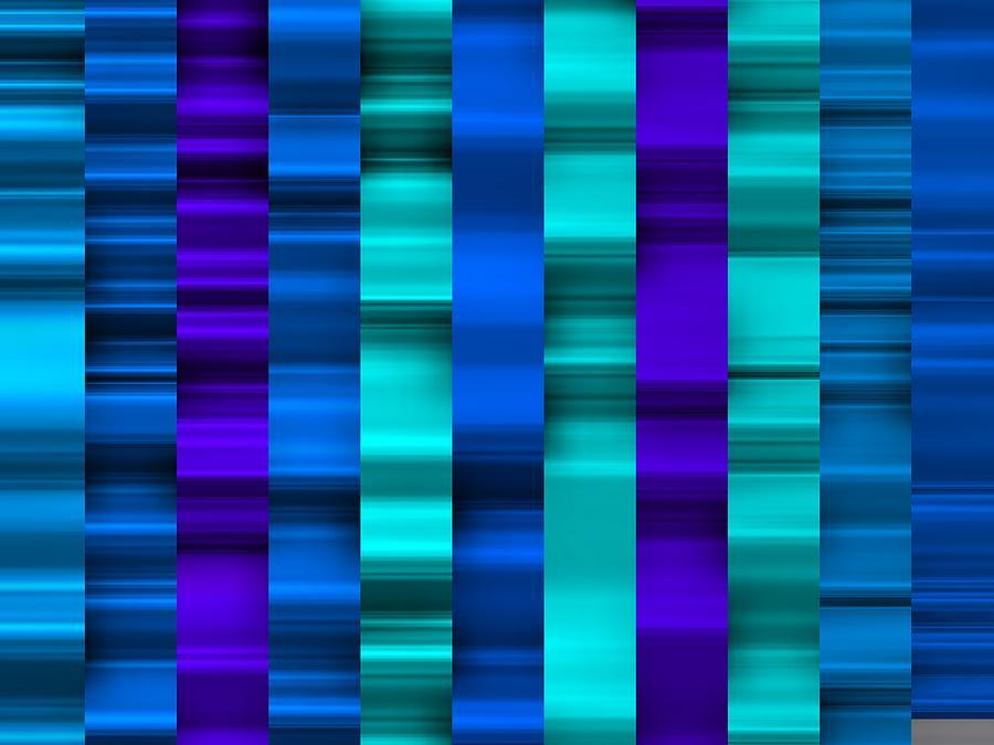 Cool Blue Waves Of Stripes Digital Art