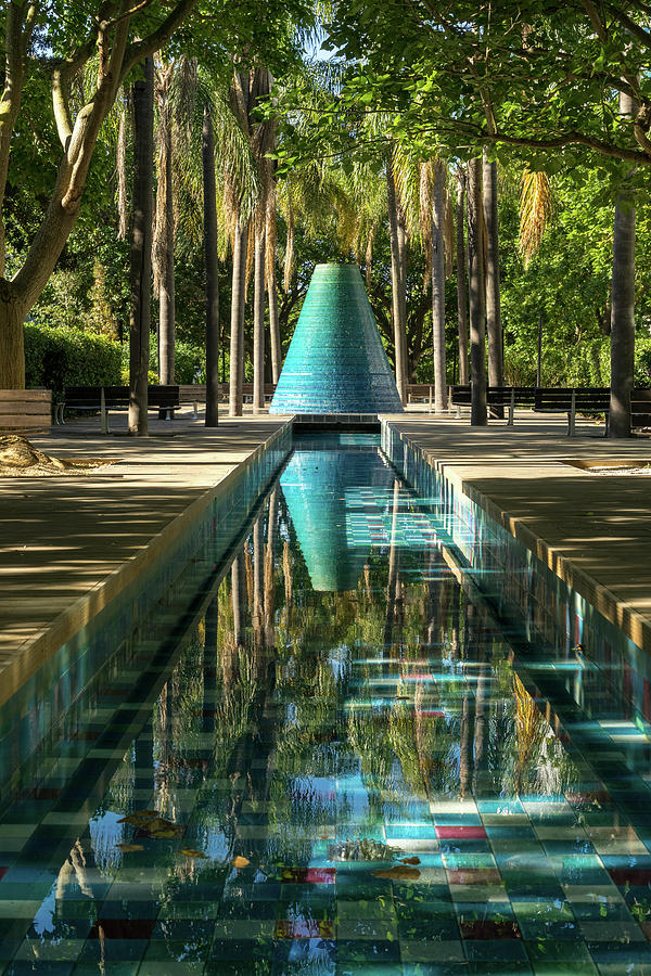 Cool Conical Fountain and Reflecting Pool in Parque das Nacoes Lisbon Portugal  by Georgia Mizuleva