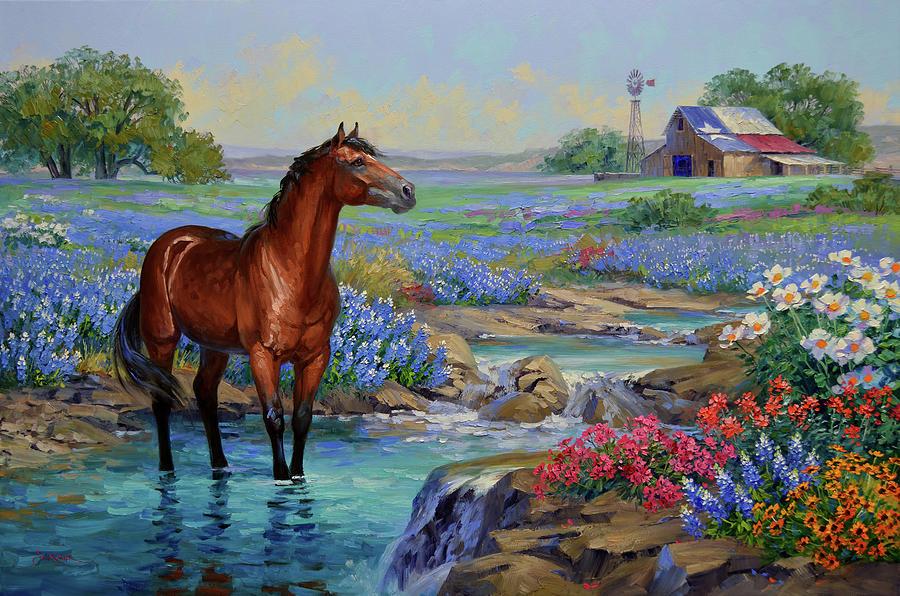 Texas Wildflowers Painting - Cool, Cool Water by Mikki Senkarik