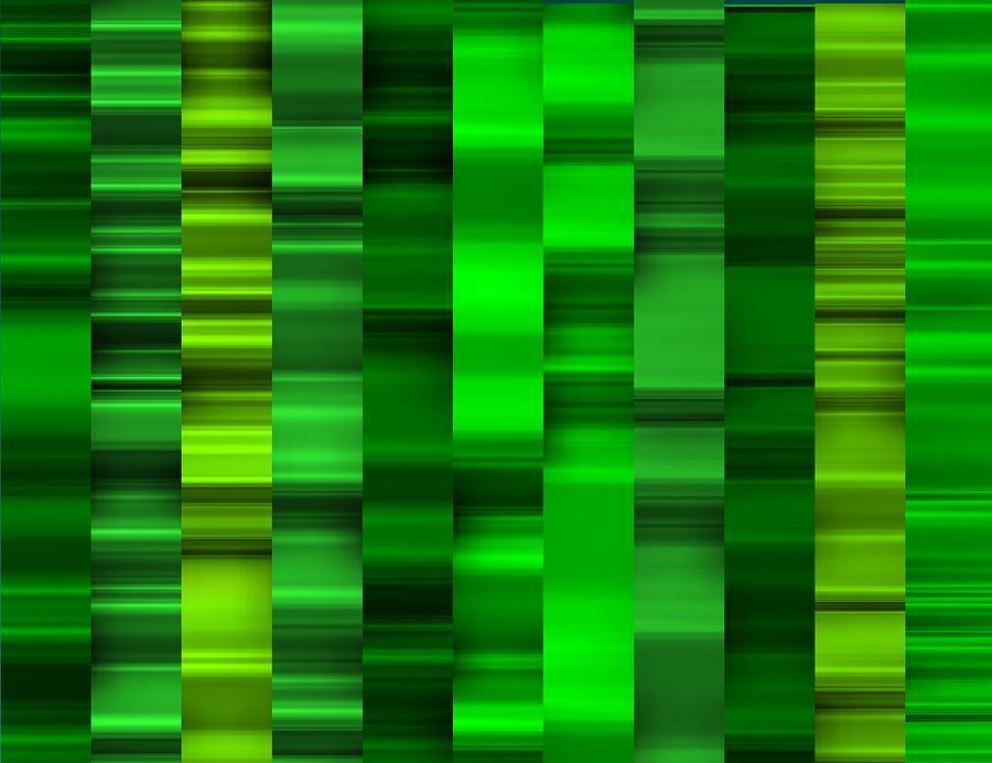 Cool Green Waves Striped Digital Art