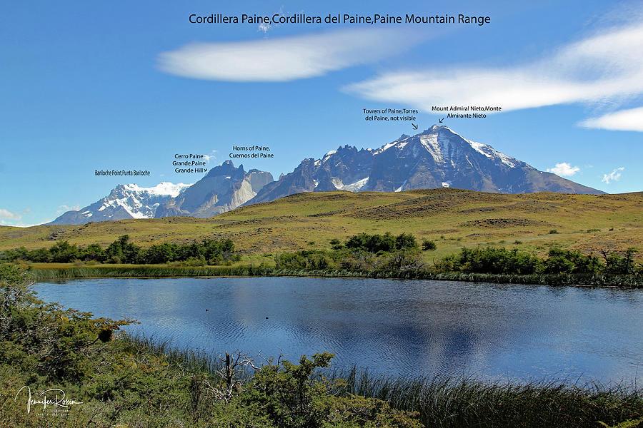 CORDILLERA PAINE PEAKS - map by Jennifer Robin