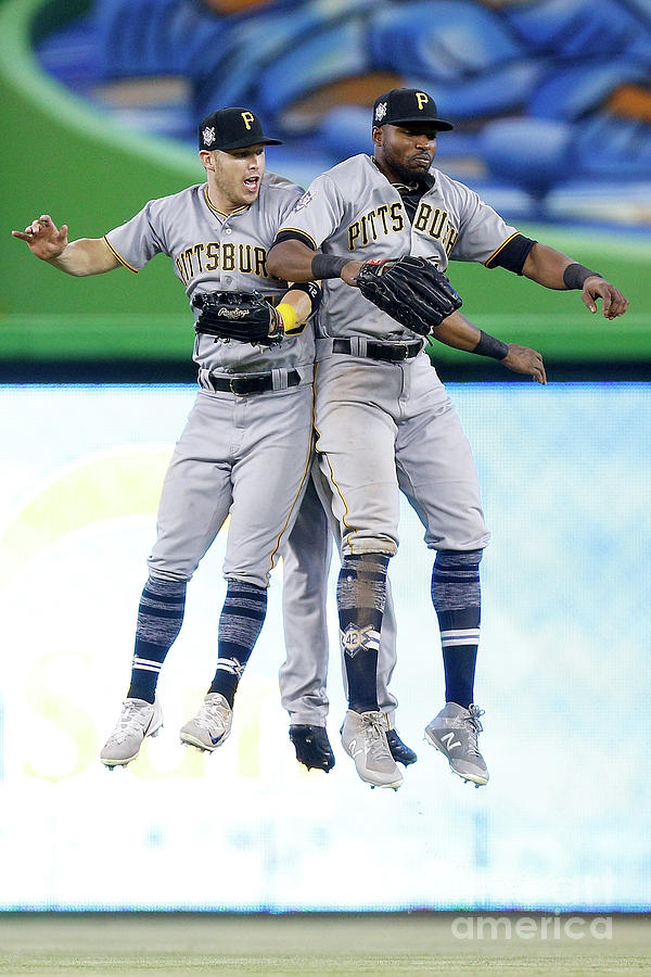 Corey Dickerson, Starling Marte, and Gregory Polanco Photograph by Michael Reaves
