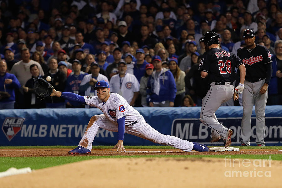Corey Kluber, Anthony Rizzo, And Kris Bryant Photograph by Jamie Squire