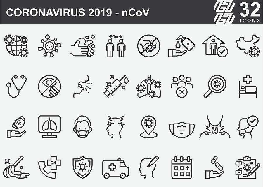 Coronavirus 2019-nCoV Disease Prevention Line Icons Drawing by LueratSatichob