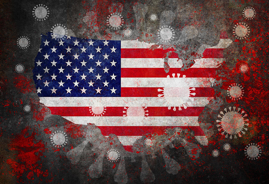 Coronavirus COVID-19 and USA map with Flag Photograph by Peter Zelei Images