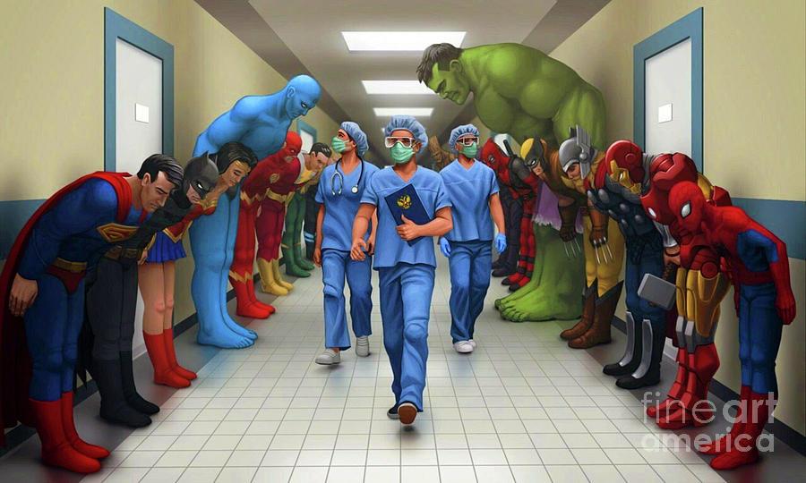 Virus Digital Art - Coronavirus Covid-19 Doctors Heroes by Friends Art