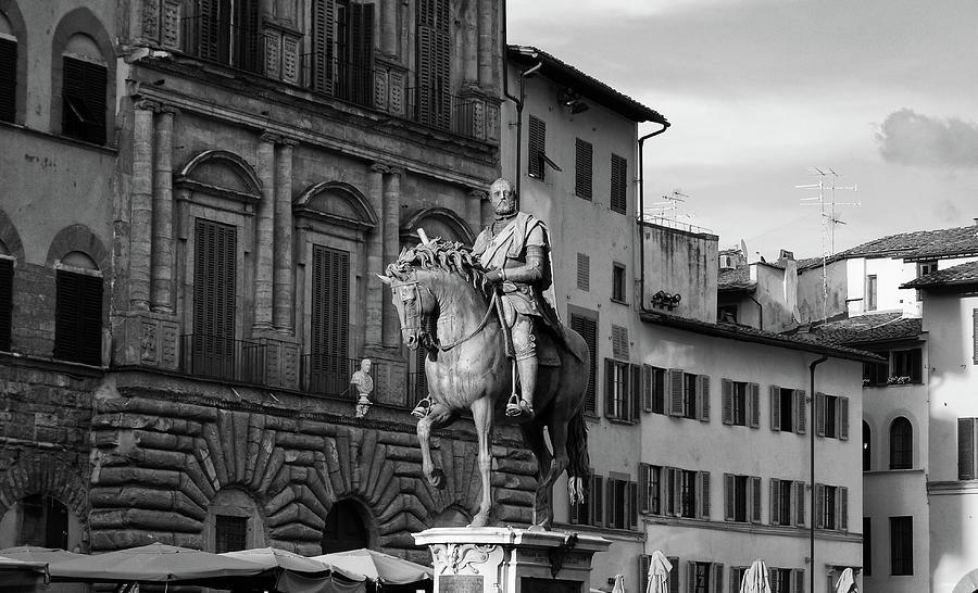 Cosimo I Bronze Equestrian Monument Piazza Della Signoria Florence Italy Black and White by Shawn O'Brien