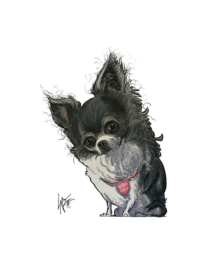 Dog Drawing - Costello 5368 by Canine Caricatures Custom Merchandise