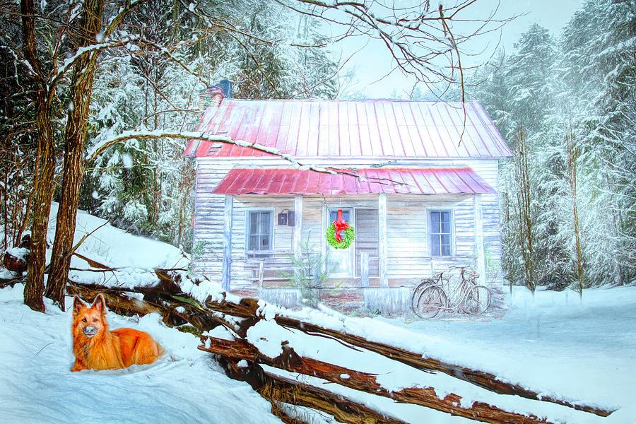 Cottage in the Snow by Debra and Dave Vanderlaan
