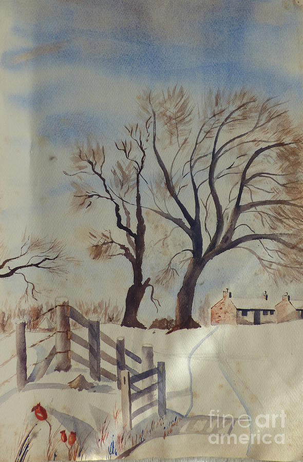 Cottage with Fence - A Watercolor by Eleanor Robinson