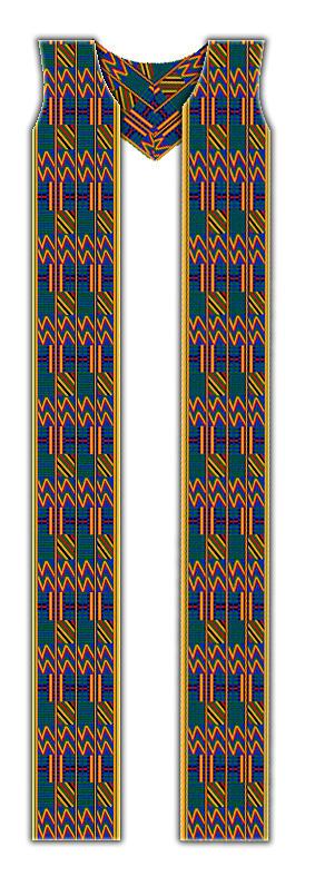 Cotton Kente Cloth Ministerial Stole Tapestry - Textile by Julie Rodriguez Jones