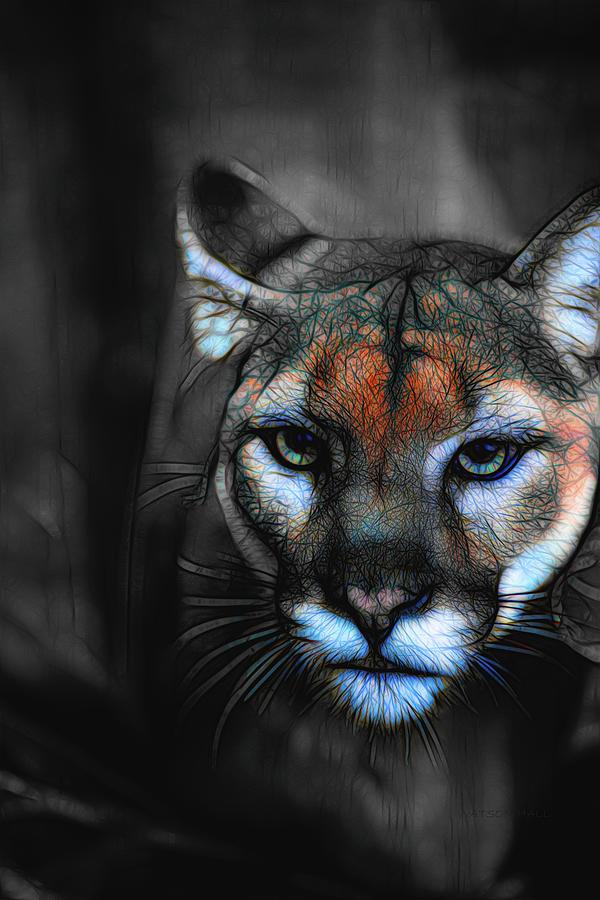 Cougar Digital Art by Marlene Watson and Art Crew NZ