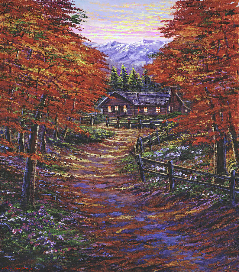 Country Cabin Autumn Painting
