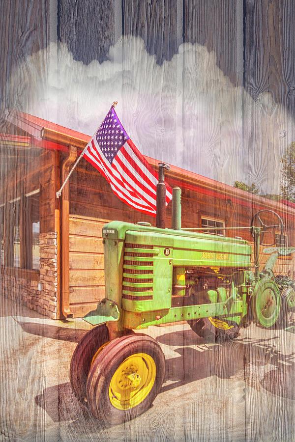 Country Deere II with Wood Textures by Debra and Dave Vanderlaan