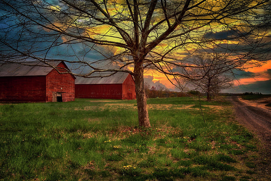 Country Farm Sunset Photograph