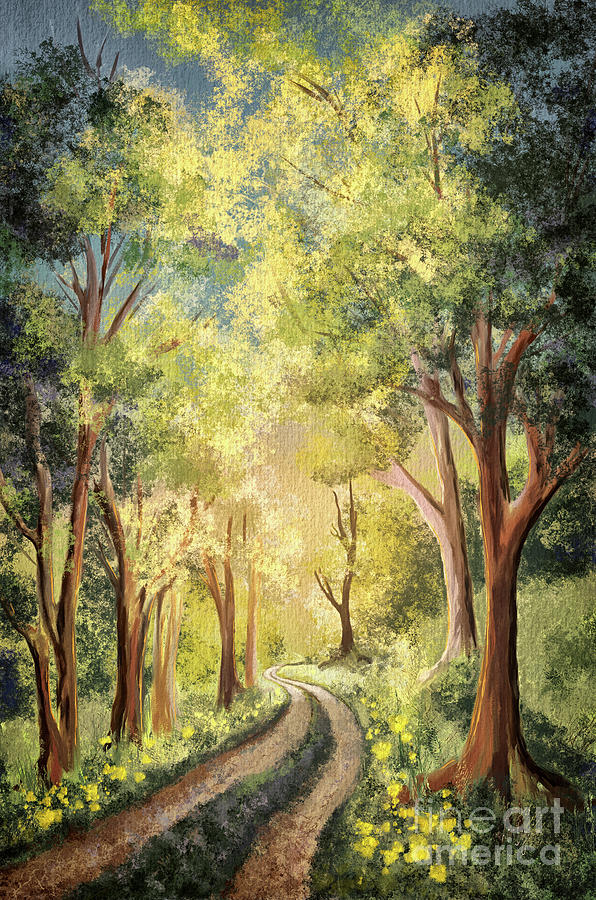 Country Lane Under Blue Skies by Lois Bryan