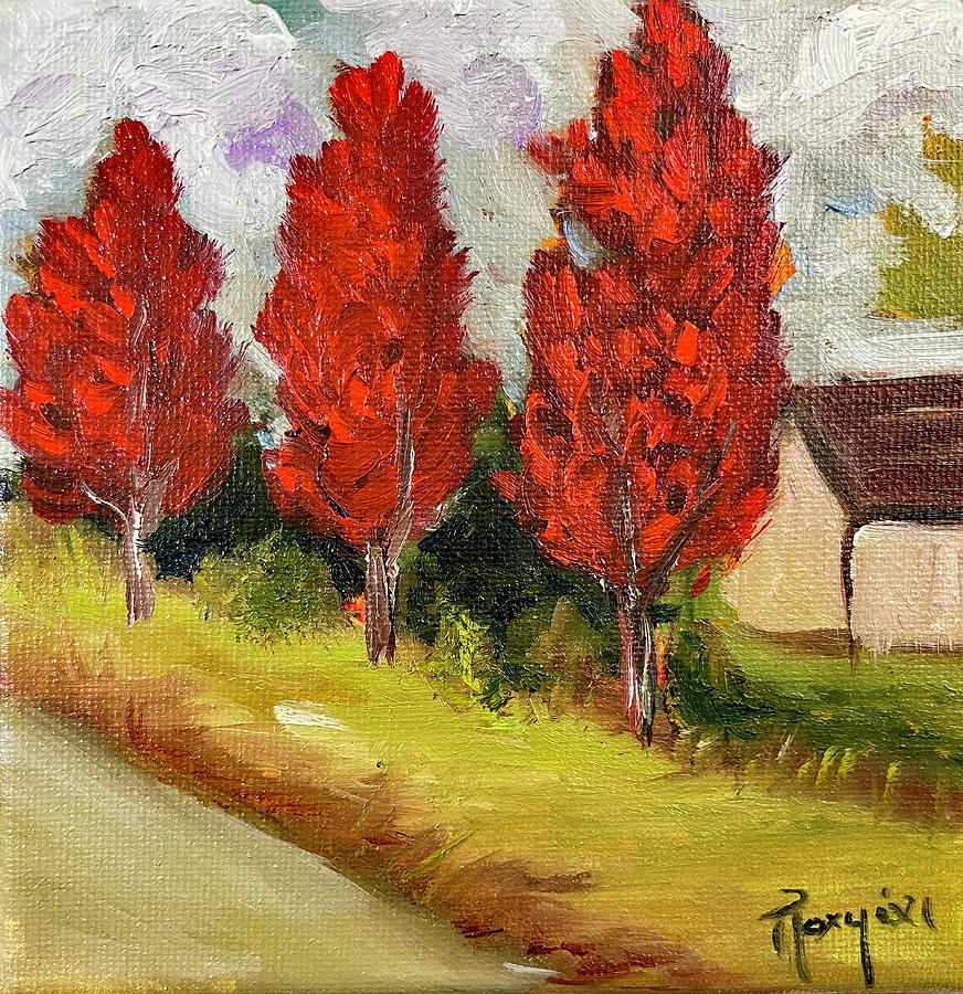 Maple Trees Painting - Countryside Maples by Roxy Rich