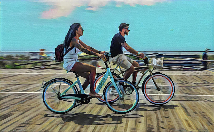 Couples Morning Bike Ride On The Boardwalk Digital Art