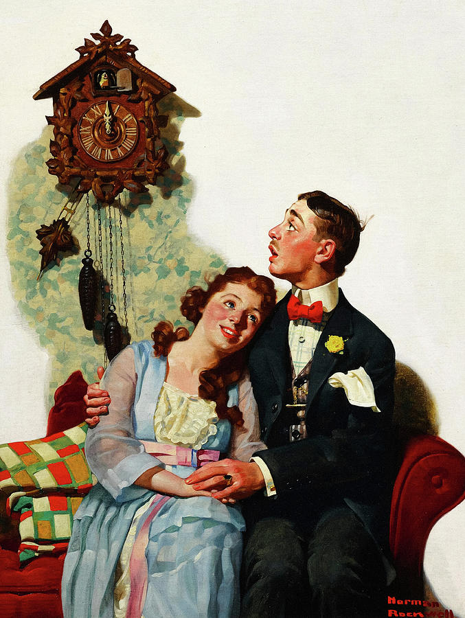 Norman Rockwell Painting - Courting Couple at Midnight, 1919 by Norman Rockwell