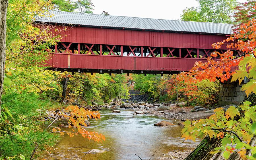 Covered Bridge In Autumn Photograph