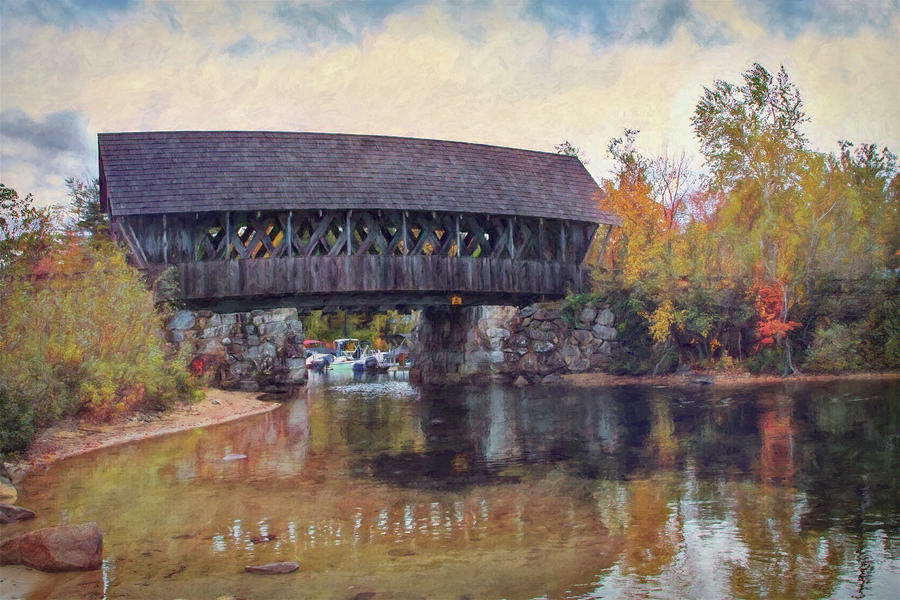 Landscape Photograph - Covered Bridge over Squam River by Jeff Folger
