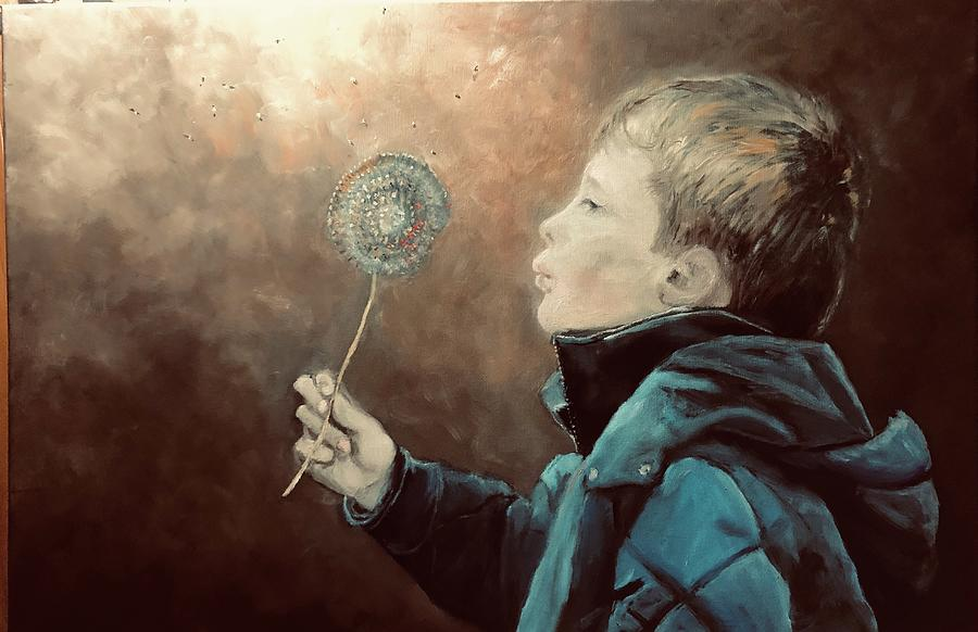 Boy Painting - Covid-19 by Ted Coombs