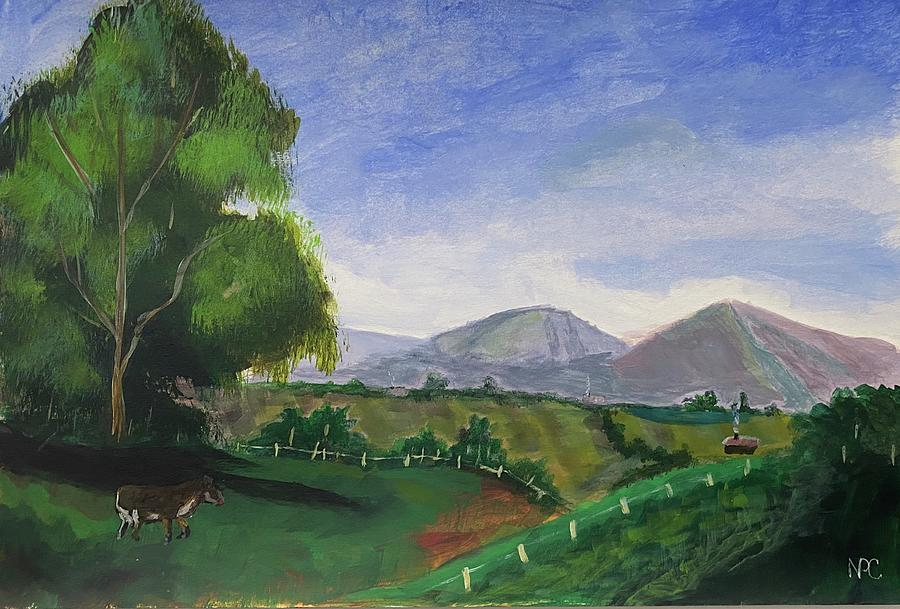 Mountains Painting - Cow in the field by Naomi Cooper