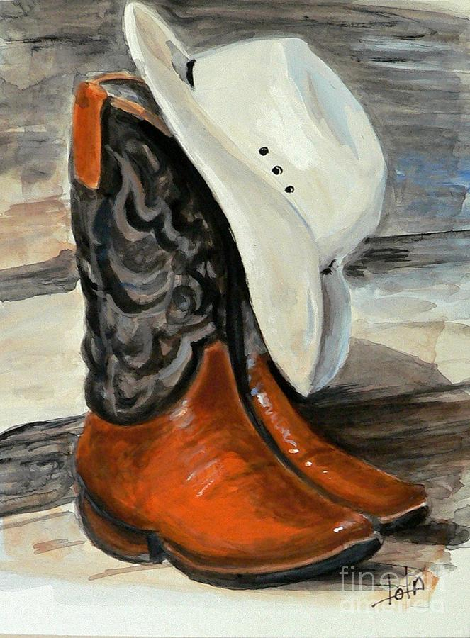 Cowboy Boots And Hat Painting By Louise Lavallee