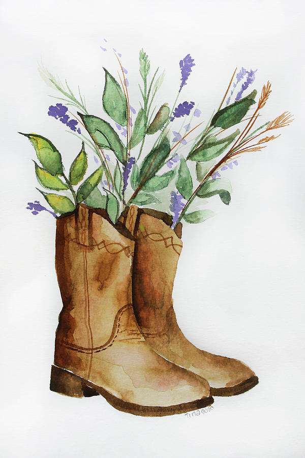 Cowboy Boots Painting By Tina Williams