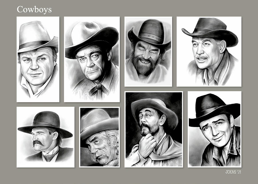 Collage Drawing - Cowboy Collage by Greg Joens