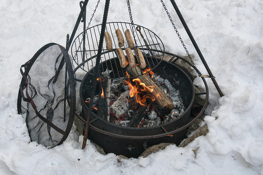 Cowboy Cooking Brats In The Snow by James BO Insogna