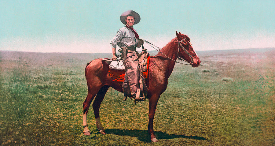 Cowboy On Horseback - Photochrom - Circa 1900 by War Is Hell Store
