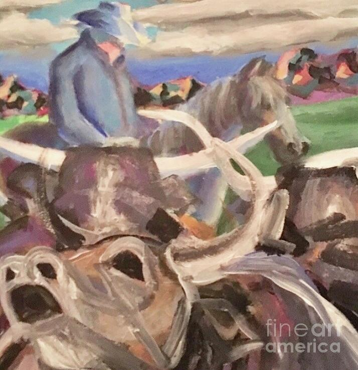 Cowboy Painting - Cowboy working the herd by Mark Macko