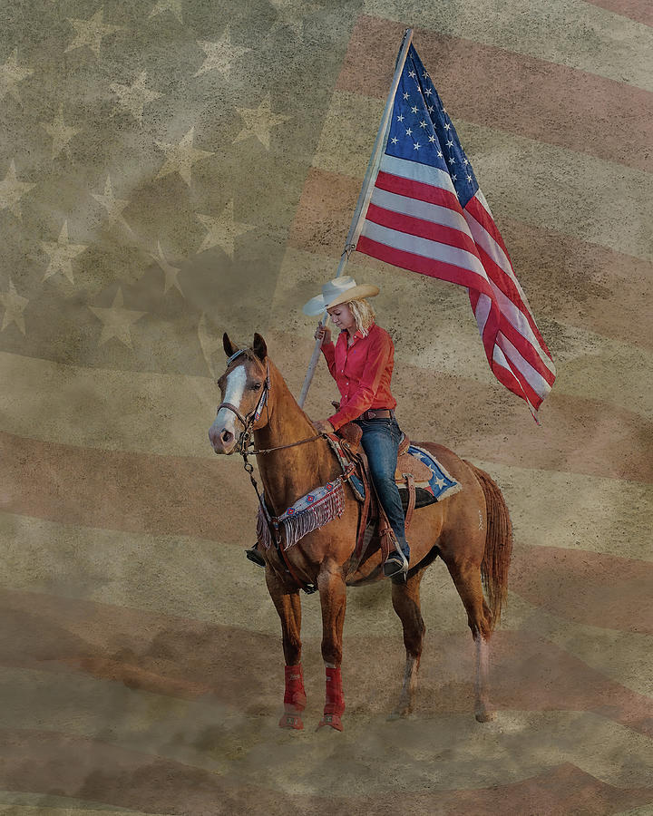 Cowgirl Flag Bearer Photograph