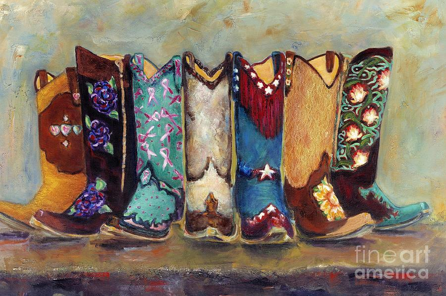 Cowgirls Painting - Cowgirls Kickin the Blues by Frances Marino